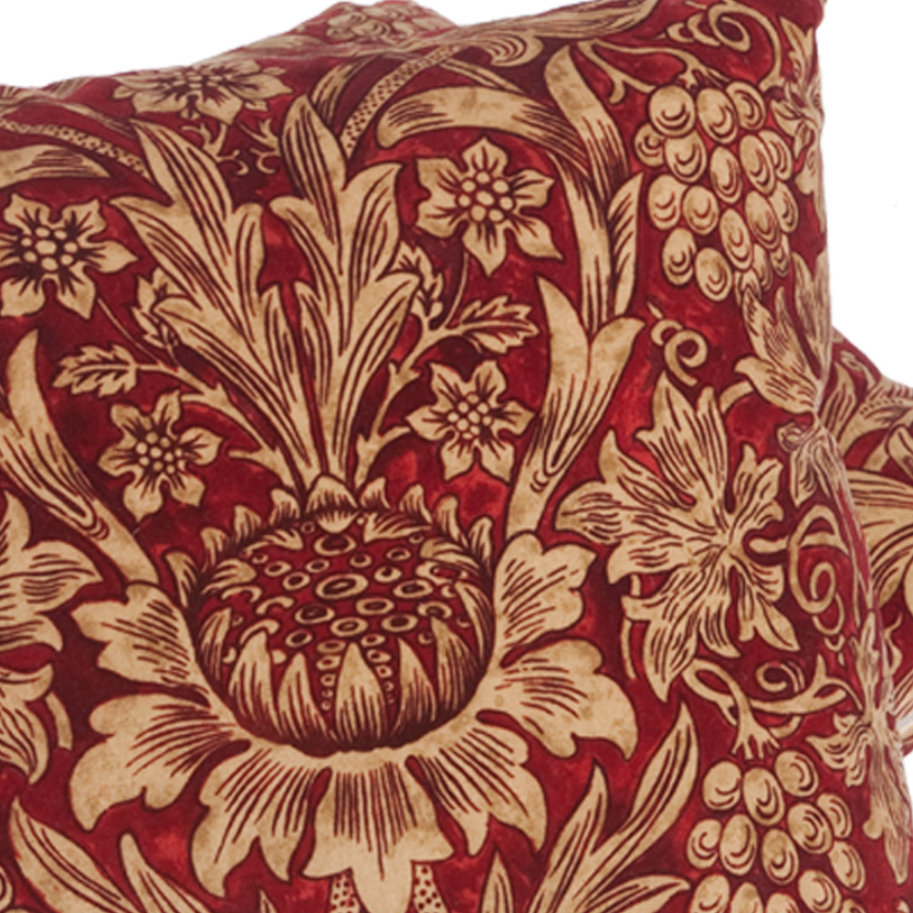 William Morris Red Velvet Sunflower Cushion