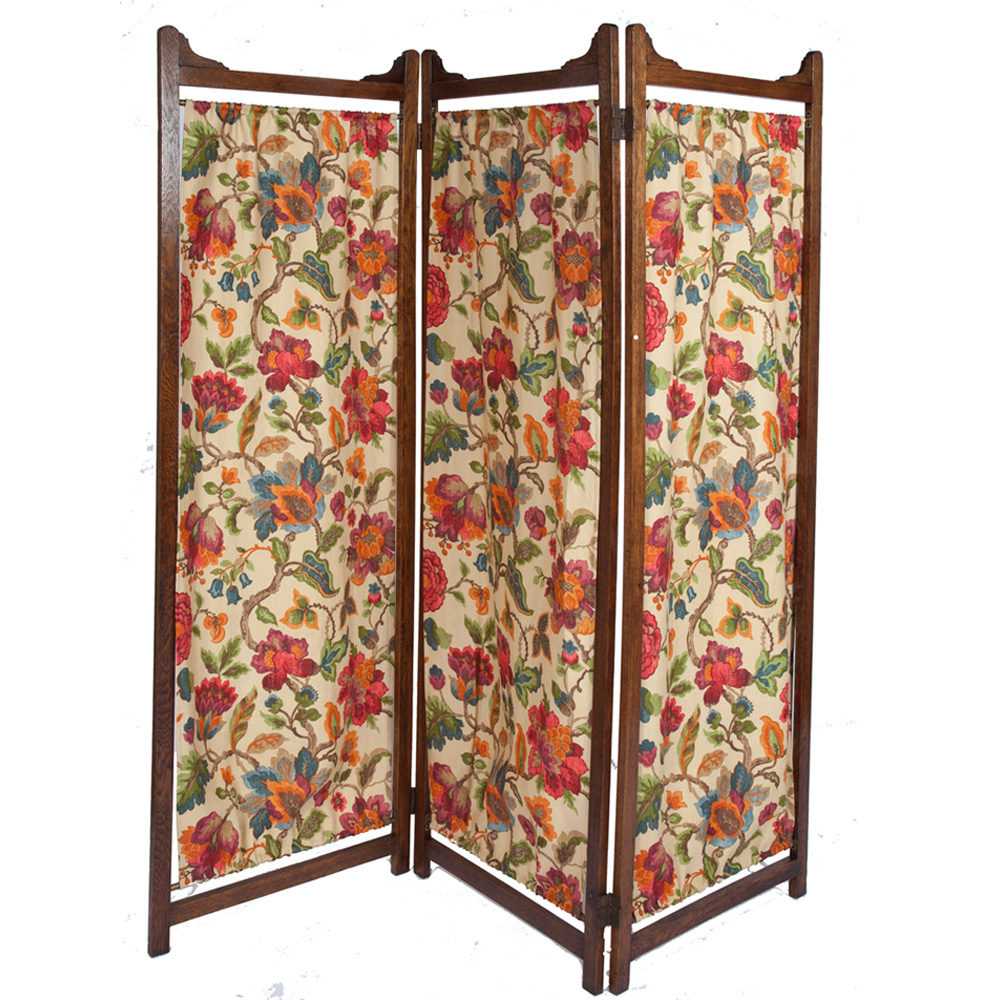 Large Edwardian Three Fold Oak Dressing Screen The