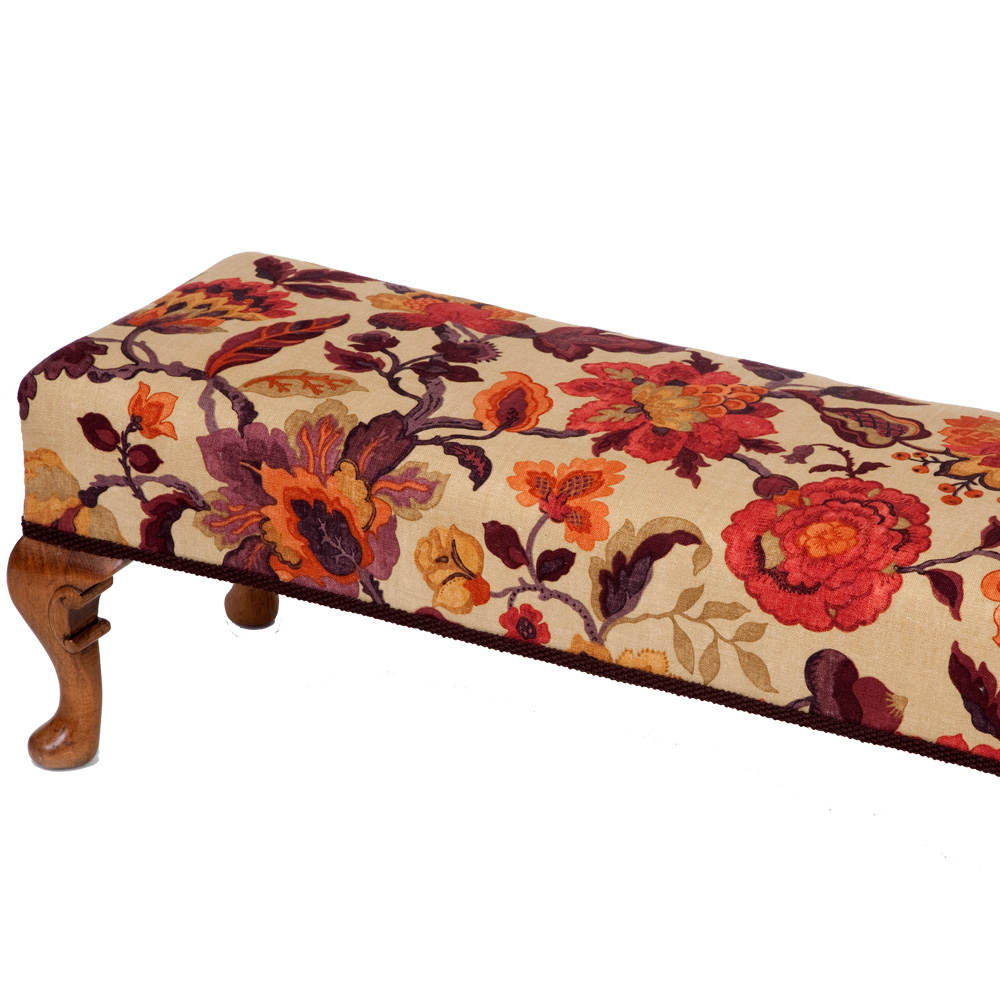 Beautiful Elongated Carved Edwardian Footstool The