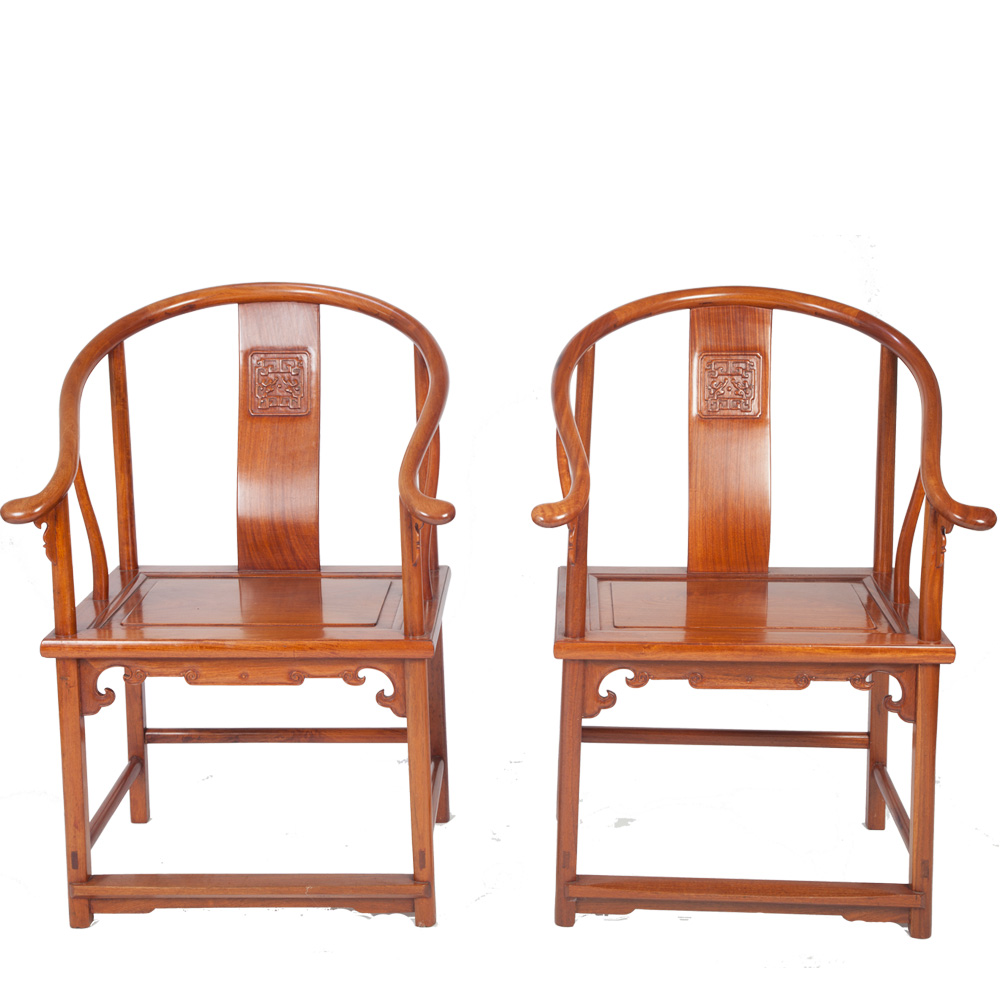 Pair Of Early 20th Century Chinese Horseshoe Armchairs
