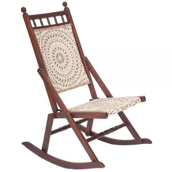 Beautiful Edwardian Antique Folding Rocking Chair The