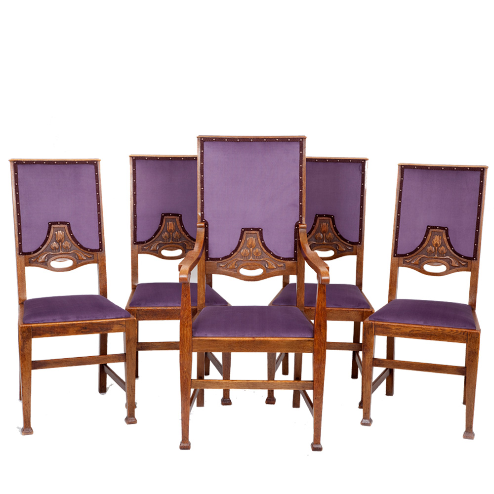 Set of 5 arts crafts dining chairs the unique seat company for Furniture companies
