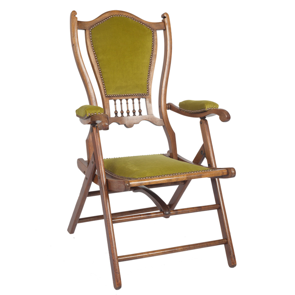 Unique Chair: Stunning Edwardian Mahogany Folding Campaign Chair